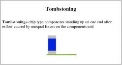 Tombstoning = chip type components standing up on one end after reflow caused by unequal forces on the components end
